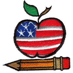 Patriotic Apple & Pencil embroidery design