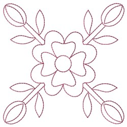 Flower & Buds embroidery design