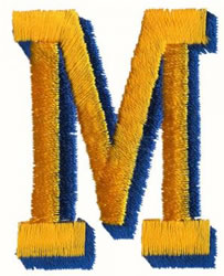 Two Color M embroidery design