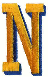 Two Color N embroidery design