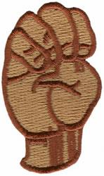 Sign Language E embroidery design