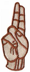 Sign Language U embroidery design