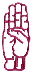 Sign Language B embroidery design