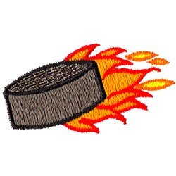 Flaming Hockey Puck embroidery design