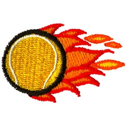 Flaming Tennis Ball embroidery design