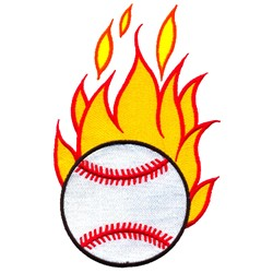 Baseball with Flames embroidery design