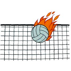 Volleyball & Net embroidery design