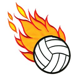 Flaming Volleyball Appliqué embroidery design