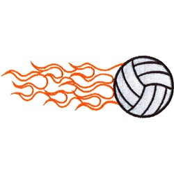 Flaming Volleyball Wrap embroidery design