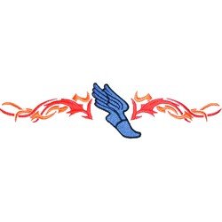 Flaming Track Logo embroidery design