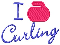 I Love Curling embroidery design