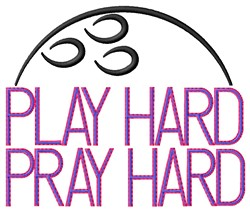 Bowling Play Hard embroidery design