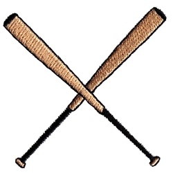 Crossed Baseball Bats embroidery design