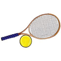 Tennis Racquet and Ball embroidery design