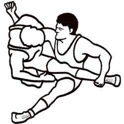 Wrestling Outline embroidery design