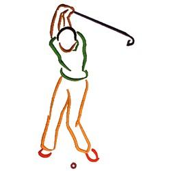 Golfer Outline embroidery design