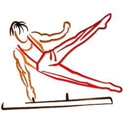 Gymnast on Pommel embroidery design
