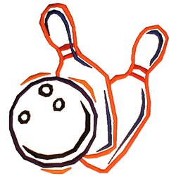 Bowling Pins & Balls embroidery design