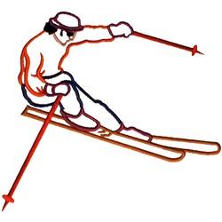 Skier Outline embroidery design