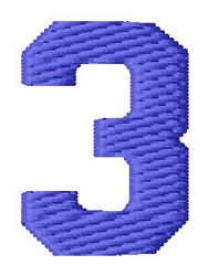 Sport Number 3 embroidery design