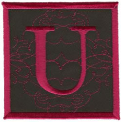 Square Applique U embroidery design