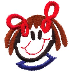 Stick Girl Head embroidery design