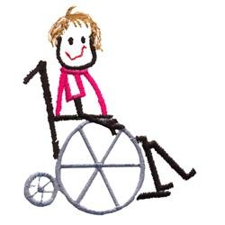Wheelchair Kid embroidery design