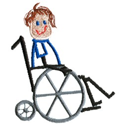 Stick Wheelchair Kid embroidery design