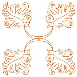 Leaves in Corners embroidery design