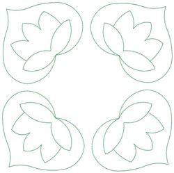 Tulip Heart Square embroidery design
