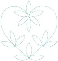 Leaf Heart Outline embroidery design