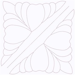 Floral Square Outline embroidery design
