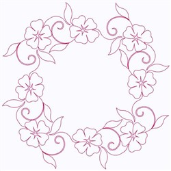 Pansy Circle embroidery design