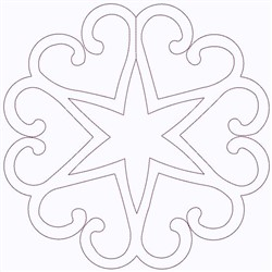 Heart Star Outline embroidery design