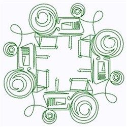 Swirly Tractors embroidery design