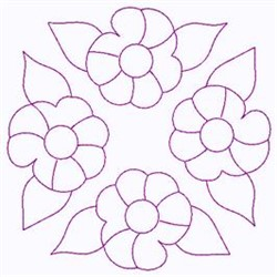 Outline Of Flowers embroidery design