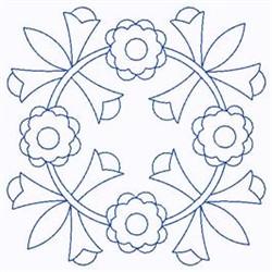 Scandinavian Flower Circle embroidery design