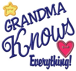 Grandma Knows Everything embroidery design