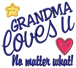 Grandma Loves U embroidery design