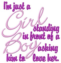 Just A Girl embroidery design