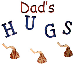 Dads Hugs embroidery design