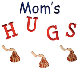 Moms Hugs embroidery design
