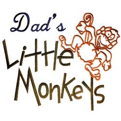 Dads Little Monkeys embroidery design