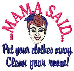 Put Clothes Away embroidery design
