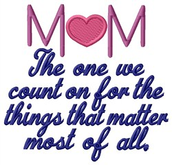 Count On Mom embroidery design