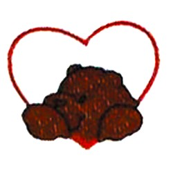 Heart and bear embroidery design
