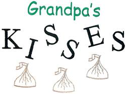 Grandpas kisses embroidery design