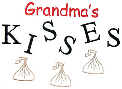 Grandmas kisses embroidery design