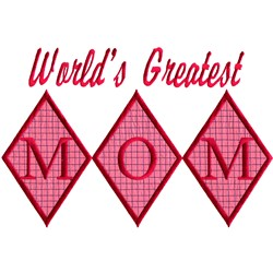 Greatest Mom, Appliqué embroidery design