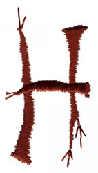 Twig H embroidery design